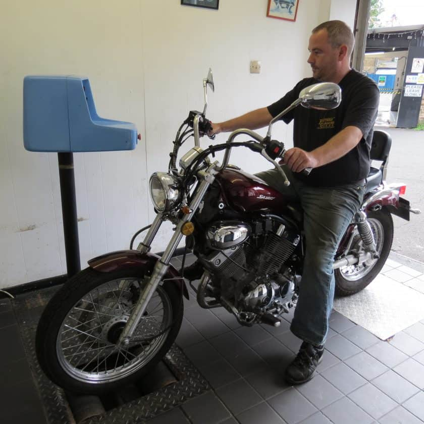 Motorcycle MOT Test - on the machine