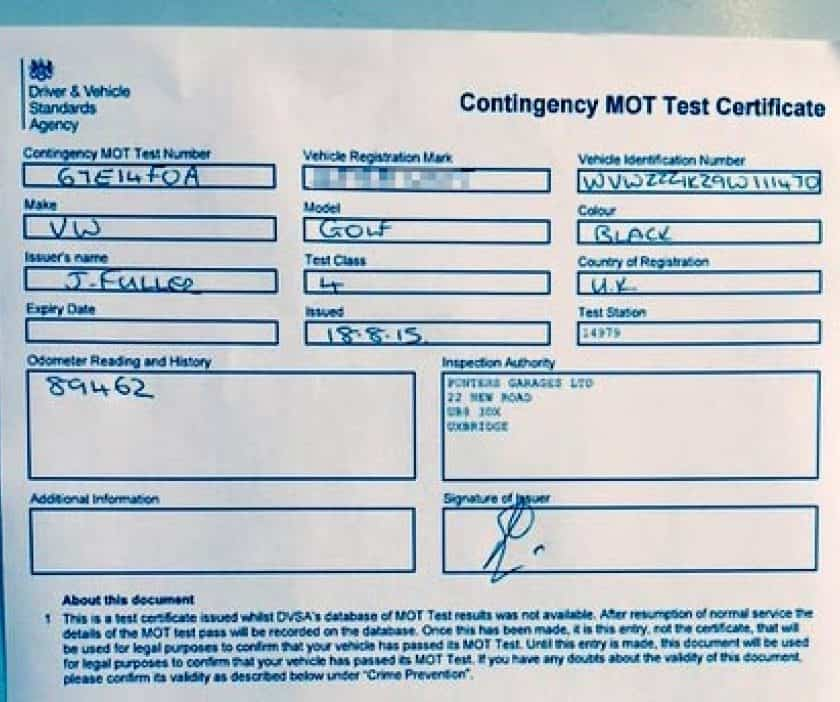 MOT Contingency Test Document
