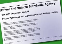 UK MOT Inspection Manual, Passenger Cars and Light Commercial Vehicles