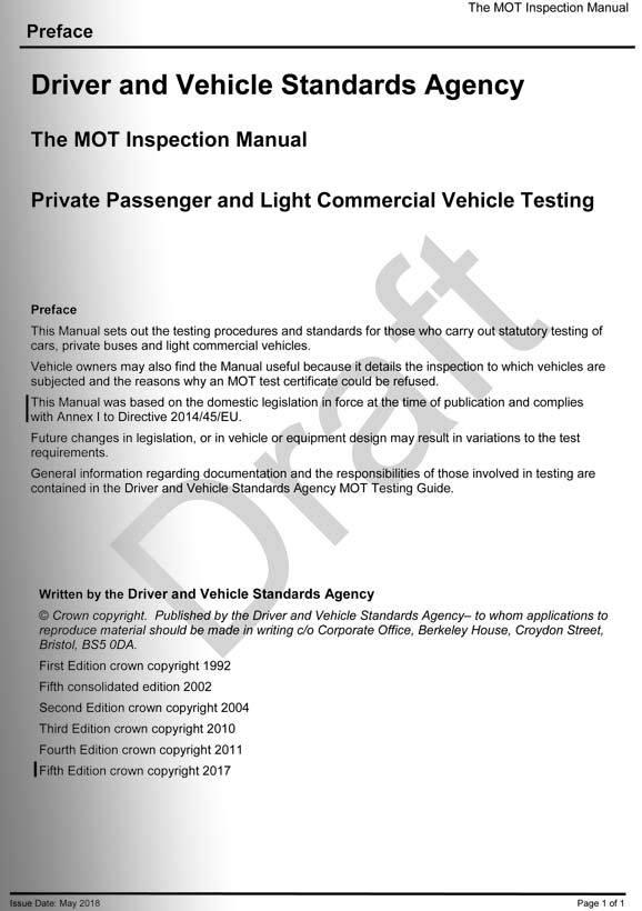 draft of new mot inspection manual released mot testing magazine rh motester co uk Functional Testing Manual Testing Jobs