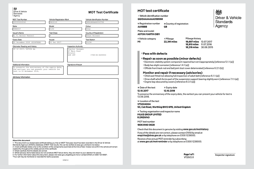 New MOT Rules - Old and New MOT Test Certificate