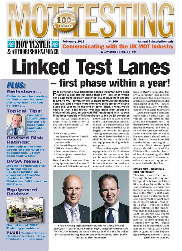 MOT Testing Magazine sample issue 100 February 2019