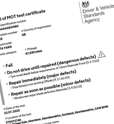 MOT Test certificate sample