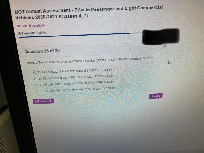 MOT Annual Assessment Test Question 1